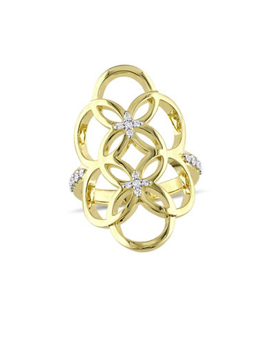 Catherine Malandrino Gold Plated Linked Floral Ring with 0.16 TCW Diamonds-DIAMOND-8
