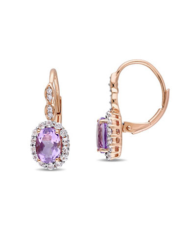 Concerto Amethyst and Diamond 14K Rose Gold Vintage Earrings-PURPLE-One Size