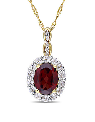 Concerto Garnet and Diamond 14K Yellow Gold Vintage Necklace-RED-One Size