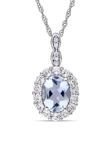 Concerto Aquamarine and Diamond 14K White Gold Vintage Necklace-BLUE-One Size