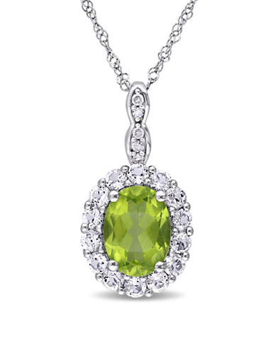 Concerto Peridot and Diamond 14K White Gold Vintage Necklace-GREEN-One Size