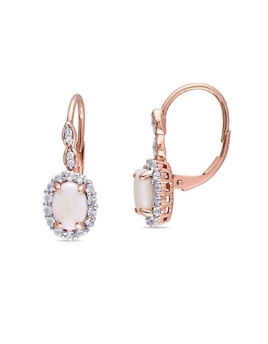 Concerto Opal, Topaz, Diamond and 14K Rose Gold Leverback Earrings-WHITE-One Size