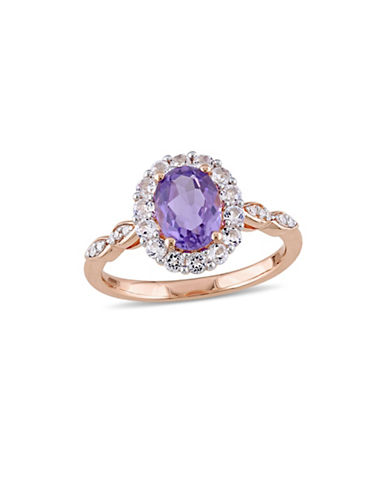 Concerto Amethystand Diamond 14K Rose Gold Vintage Ring-PURPLE-8