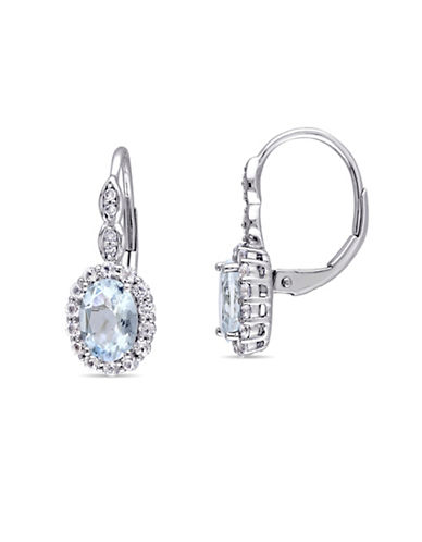 Concerto Aquamarine and Diamond 14K White Gold Vintage Earrings-BLUE-One Size
