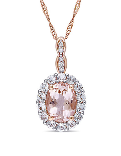 Concerto 0.025 TCW Diamond-Accent Vintage 14K Rose Gold Necklace-PINK-One Size