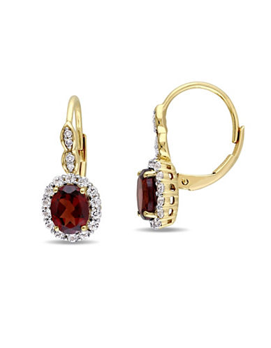 Concerto Garnet and Diamond 14K Yellow Gold Vintage Earrings-RED-One Size
