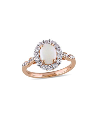 Concerto Opal, Topaz, Diamond and 14K Rose Gold Vintage Ring-WHITE-9