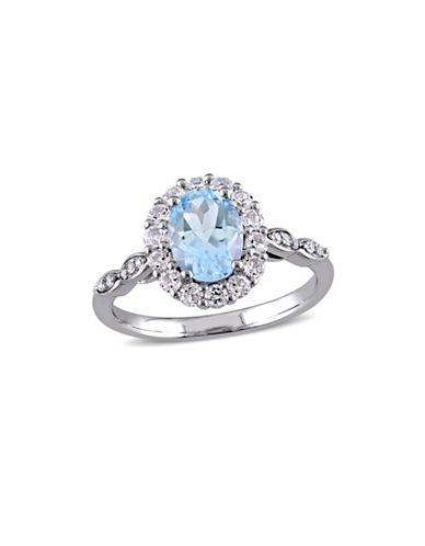 Concerto Blue and White Topaz, Diamond and 14K White Gold Vintage Ring-BLUE-6