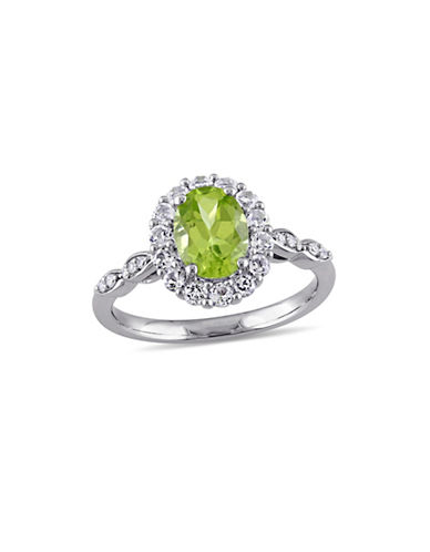 Concerto Peridot and Diamond 14K White Gold Vintage Ring-GREEN-7