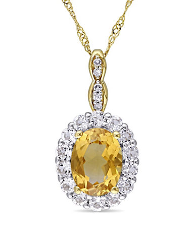 Concerto Citrine and Diamond 14K Yellow Gold Vintage Necklace-YELLOW-One Size