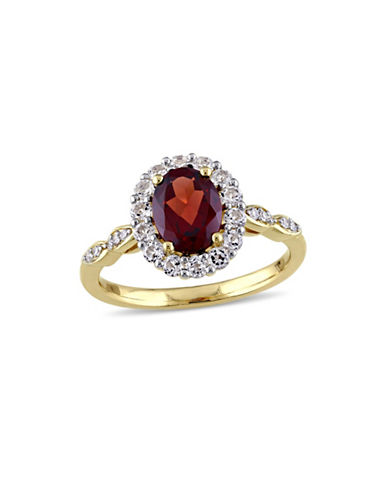 Concerto Garnet and Diamond 14K Yellow Gold Vintage Ring-RED-5