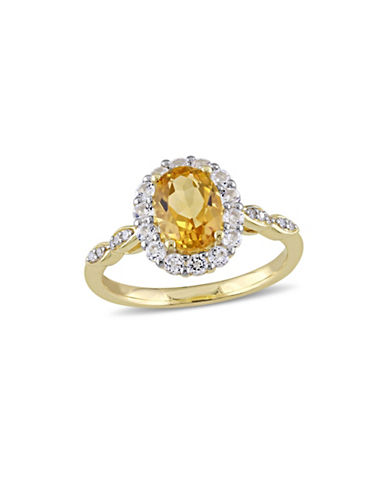 Concerto Citrine and Diamond 14K Yellow Gold Vintage Ring-YELLOW-8