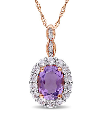 Concerto Amethyst and Diamond 14K Rose Gold Vintage Necklace-PURPLE-One Size