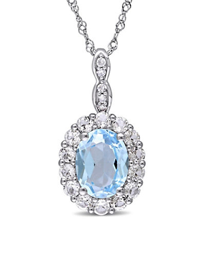 Concerto Blue Topaz and Diamond 14K White Gold Vintage Necklace-BLUE-One Size
