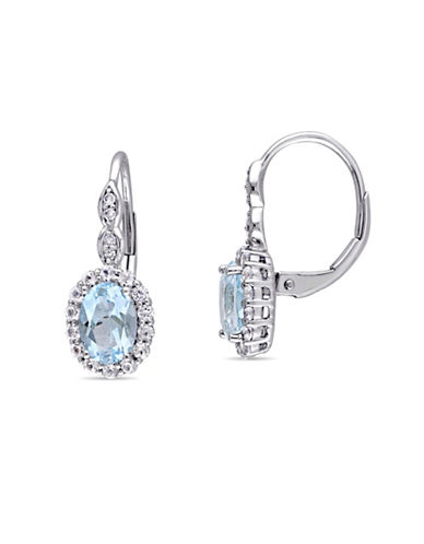 Concerto Blue and Diamond 14K White Gold Vintage Earrings-BLUE-One Size