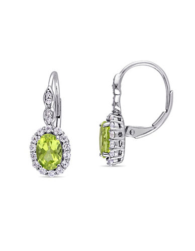 Concerto Peridot and Diamond 14K White Gold Vintage Earrings-GREEN-One Size