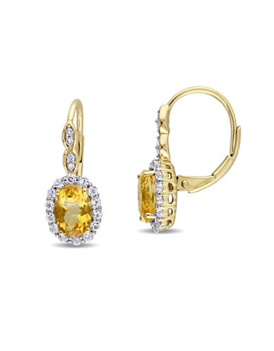 Concerto Citrine and Diamond 14K Yellow Gold Vintage Earrings-YELLOW-One Size