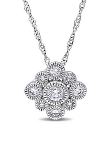 Concerto 14K White Gold Floral Pendant Necklace-DIAMOND-One Size