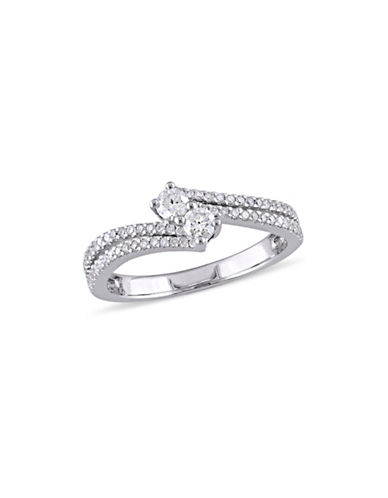 Concerto 0.5 TCW Diamond and 14K White Gold Two-Row Bypass Ring-DIAMOND-9