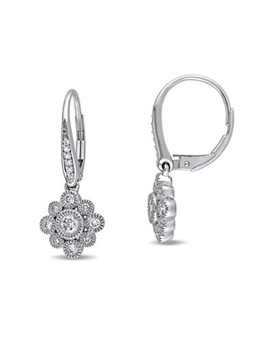 Concerto 0.50 TCW Diamond and 14K White Gold Floral Leverback Earrings-DIAMOND-One Size