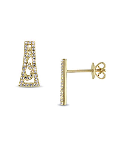 Concerto 0.18 TCW Diamond Vintage 14K Yellow Gold Stud Earrings-DIAMOND-One Size