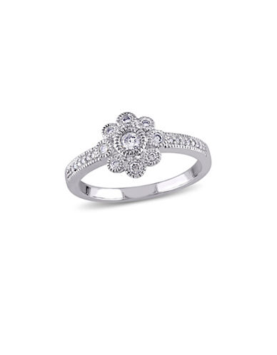 Concerto 14K White Gold Floral Ring-DIAMOND-9