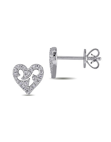 Concerto 0.12 TCW Diamond Heart 14K White Gold Stud Earrings-DIAMOND-One Size