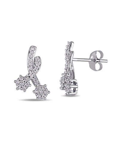 Concerto 14K White Gold Shooting Stars Stud Earrings-DIAMOND-One Size