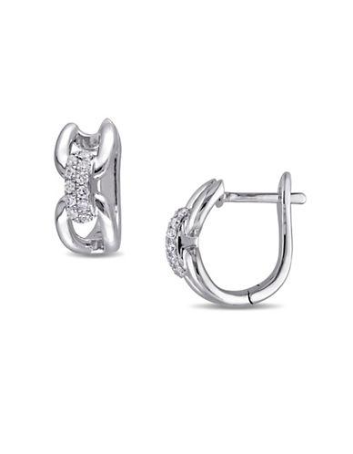 Concerto 0.12 TCW Diamond Link 14K White Gold Earrings-DIAMOND-One Size