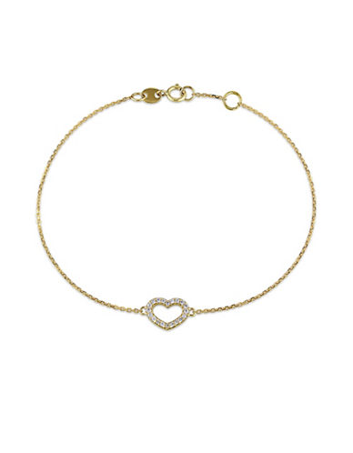 Concerto 14K Yellow Gold and 0.10TCW Heart Charm Bracelet-YELLOW GOLD-One Size