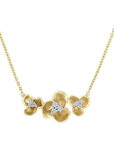Concerto 14K Yellow Gold and 0.09 TCW Diamond Trillium Floral Necklace-YELLOW GOLD-One Size