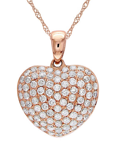 Concerto 14K Rose Gold and 0.50TCW Diamond Heart Pendant Necklace-ROSE GOLD-One Size