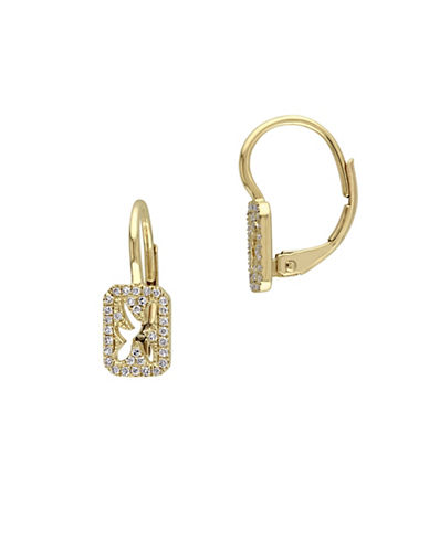 Concerto 14K Yellow Gold and 0.15 TCW Diamond Cutout Drop Earrings-YELLOW GOLD-One Size