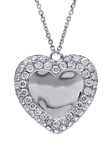 Concerto 14K White Gold and 1TCW Diamond Heart Pendant Necklace-WHITE-One Size