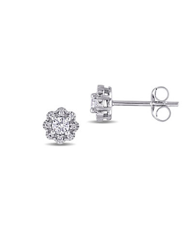 Concerto 0.25 TCW Diamond and 14K White Gold Vintage Floral Stud Earrings-WHITE GOLD-One Size