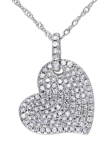 Concerto 14K White Gold and 0.50TCW Diamond Tilted Heart Necklace-WHITE-One Size