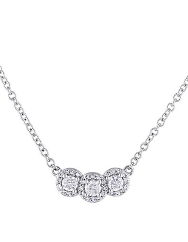 Concerto 14K White Gold Three-Stone 0.5 TCW Diamond Pendant Necklace-WHITE-One Size