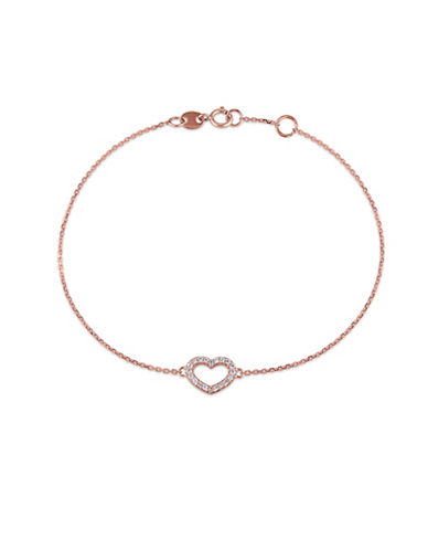 Concerto 14K Rose Gold and 0.10TCW Diamond Heart Charm Bracelet-ROSE GOLD-One Size
