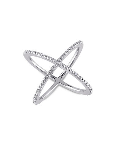 Concerto Diamond Open Crisscross Sterling Silver Ring-WHITE-8