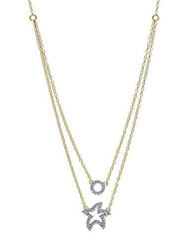 Concerto 0.05 TCW Diamond Two-Tone Sterling Silver Star and Moon Layered Pendant Necklace-TWO-TONE-One Size