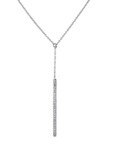 Concerto 0.125 TCW Diamond Sterling Silver Lariat Necklace-WHITE-One Size