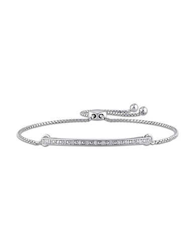Concerto 0.10 TCW Diamond Sterling Silver Bar Slider Bracelet-WHITE-One Size