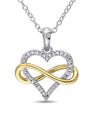 Concerto 0.10 TCW Diamond Two-Tone Sterling Silver Infinity Heart Pendant Necklace-TWO-TONE-One Size