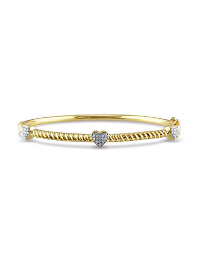 Concerto 0.126 TCW Diamond and Yellow Plated Sterling Silver Heart Station Bangle Bracelet-WHITE-One Size