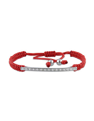 Concerto 0.10 TCW Diamond Sterling Silver Bar String Kabbalah Bracelet-RED-One Size