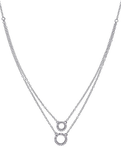 Concerto 0.04 TCW Diamond Sterling Silver Two-Circle Layered Pendant Necklace-WHITE-One Size