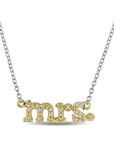 Concerto 0.10 TCW Diamond Yellow Plated Sterling Silver Mrs. Pendant Necklace-WHITE-One Size