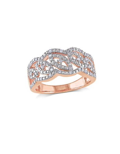 Concerto Diamond Intertwined Pink Plated Sterling Silver Ring-ROSE GOLD-7