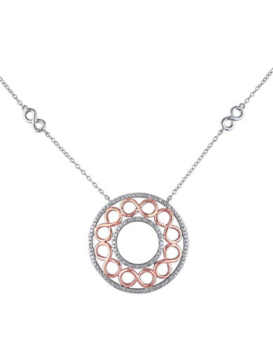 Concerto 0.24 TCW Diamond Two-Tone Sterling Silver Infinity Circle Pendant Necklace-TWO-TONE-One Size