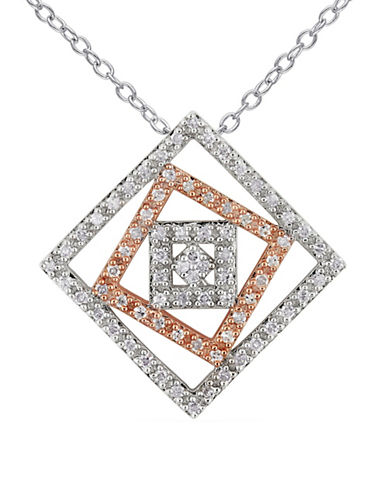 Concerto 0.20 TCW Diamond Two-Tone Sterling Silver Studded Geometric Pendant Necklace-TWO-TONE-One Size